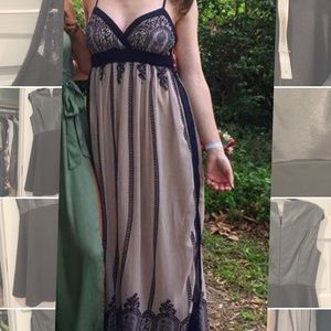 Chelsea & Violet Navy Maxi Gown